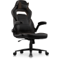 Argus Office/Gaming Chair in breathable textured Classic PU Leather in black with Brown details.
