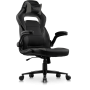 Argus Office/Gaming Chair in breathable textured Classic PU Leather in black with Grey details.