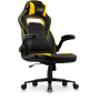 Argus Office/Gaming Chair in breathable textured Classic PU Leather in black with Yellow details.