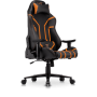 Nemesis Professional Gaming Chair in Premium PU Leather in Black with Orange details.