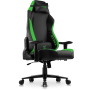 Rebel Professional Gaming Chair in Premium PU Leather in Black with Green details.
